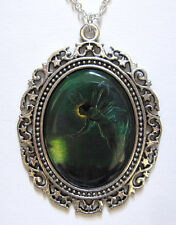 GREEN Absinthe FAIRY victorian Silver Faerie CAMEO necklace/PENDANT Medieval