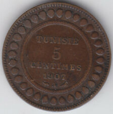 French Tunisia - Five ( 5 )  Centimes Coin - 1907