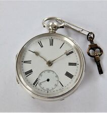 1875 SILVER CASED JEWELLED FUSEE POCKET WATCH G BROWN LONDON WORKING