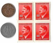 Rare Old WWII WW2 Nazi Germany Swastika Coin Stamp Adolf Hitler Collection Lot