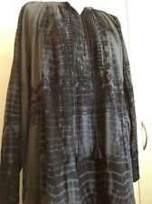 Antik Batik tie-dye grey embroidered djellabah/ caftan dress, NEW size XS
