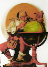 Norman Rockwell - Santa at the Globe - 3D Lenticular Postcard Greeting Card