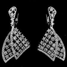 18K WHITE VERMEIL Pave 5A Cubic Zirconia Fancy Bottom Motion Hoop Earrings-925