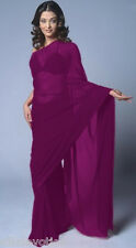 NIGHT PARTY HOT PURPLE 6Mtr Soft Georgette Chiffon Fabric Plain SAREE SARI Dress