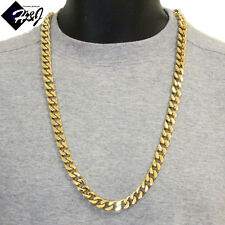 "30""MEN's Stainless Steel HEAVY WIDE 11x5mm Gold Cuban Curb Chain Necklace*170g"