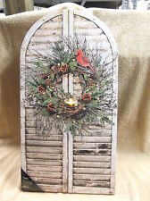 Christmas Wreath Lighted Canvas Wall Decor Sign Home Front Door Red Bird