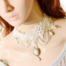 Vintage Women White Lace Pearl Pendant Collar Chain Necklace Choker for Wedding