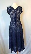VTG ALL THAT JAZZ Womens Size 5/6 Long Blue Lace Dress Short Sleeve