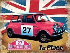 Mini Rallye Monte-Carlo Oldtimer Rennen Union Jack Klein Metall/Zinn-zeichen