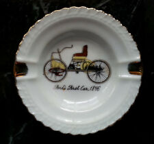 Vintage Ashtray Fords First Car 1896 Small White with Gold Trim Japan 3.5""