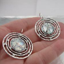 Hadar Designers Handmade 925 Sterling Silver Roman Glass Earrings (as 432106)