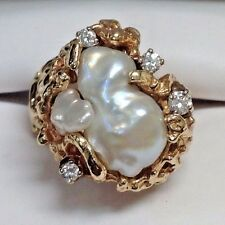 Estate Vintage Custom Hinged Baroque Pearl & Diamond Ring 14k Yellow Gold Size 6
