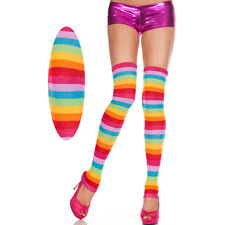 Rainbow Stripes Thick Footless Thigh High Hi Leg Warmers MLP Costume Cosplay