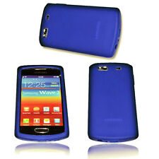SILIKON TPU COVER HANDY CASE  in BLAU SAMSUNG S8600 WAVE 3 + DISPLAYSCHUTZFOLIE