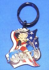 """Awesome 2"""" Biker Betty Boop with Motorcycle USA Flag Keychain"""