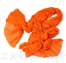 NEW Hot Women2017 Long Big Crinkle Voile Soft Scarf Wrap Shawl Stole Pure Orange