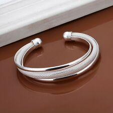New Women 925 Silver Plated Solid Twist Cuff Bangle Bracelets Fashion Jewelry