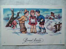 cpa cpsm carte mignonette illustrateur GOUGEON enfant neige postcard snow child