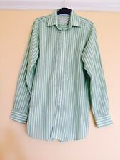 Men's Howick Green & White Stripe Striped Shirt 15.5 Inch Neck XL Extra Large