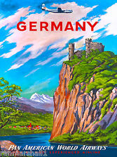 Germany German Airplane Europe European Vintage Travel Advertisement Art Poster