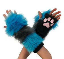 PAWSTAR Cheshire CAT Paw Arm Warmers Fingerless Gloves Gray Teal [ALT] 3150