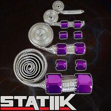 PURPLE STAINLESS STEEL ENGINE HOSE DRESS UP KIT FOR RADIATOR/VACUUM/FUEL/OIL S2