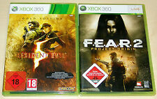 2 XBOX 360 SPIELE SET - RESIDENT EVIL 5 GOLD EDITION & FEAR 2 PROJECT ORIGIN