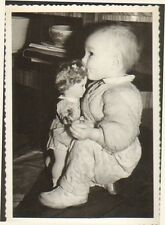 PHOTO BEBE & SA POUPEE DOLL PUPPE NOEL 1960