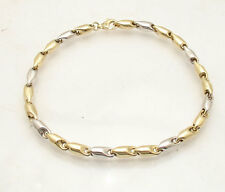 Mens Round Bullet Style Link Bracelet Real 14K Yellow White Two-Tone Gold