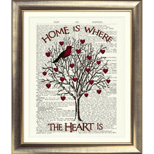 ART PRINT ON ANTIQUE BOOK PAGE Shabby Chic Bird TREE HEARTS HOME DICTIONARY ART