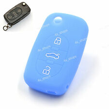 3 Button Blue Silicone Cover Flip Remote Key Case Shell Holder For AUDI A2 TT A4