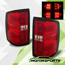 2014-2016 Chevy Silverado 1500 2500 3500 LED G2 Red Clear Brake Tail Lights Pair