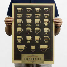 Vintage bar cafe Decoration different coffee cups Kraft Paper Poster Retro