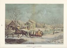 """1974 Vintage Currier & Ives COUNTRY LIFE """"WINTER MILK DELIVERY"""" COLOR Lithograph"""