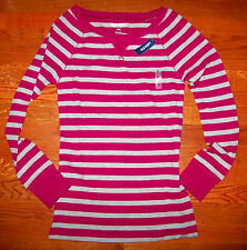 New! Women's OLD NAVY Dark Pink & Gray Cotton Stripe Thermal Shirt Size XS