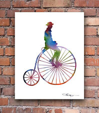 "High Wheel Bike Abstract Watercolor 11"" x 14"" Art Print by Artist DJ Rogers"