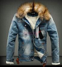 Winter neue Jeansjacke Denim Warm Slim Herren Damen in Blau Schwarz Gr:XS-2XL