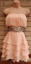 LOVE LABEL PEACHY PINK RUFFLE TIERED SKATER BEADED PARTY EVENING TEA DRESS 20