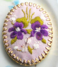 #1488A Vintage Hobe Cabochon Jewelry Violets Flowers Embroidery Silk Gold Plate