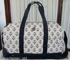 Tommy Hilfiger Canvas Duffle Anchor Print Travel Bag Weekender XL Navy Cream NWT