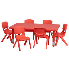 Adjustable Rectangular Red Plastic Activity Table Set w/6 School Stack Chairs