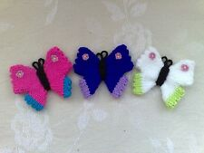 hand knitted  butterflies x 3 - education  decoration- toys - child play