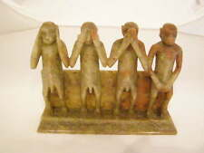 "MONKEYS CHINESE CARVED SOAPSTONE ""NO EVIL""  FIGURES  (HEAR, SEE, SPEAK & DO)"