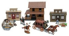 Big Country Western Town Deluxe Playset (Cowboys, Horses, StageCoach, Buildings)