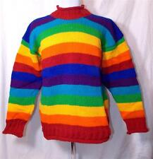 NEW SIESTA FAIR TRADE HIPPY ETHNIC BOHO PURE WOOL RAINBOW JUMPER NEPAL L