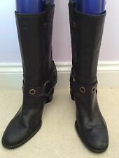 WORN ONCE TOMMY HILFIGER BLACK LEATHER CALF LENGTH BOOTS SIZE US 9.5/ UK 7