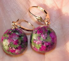 GORGEOUS 14K SOLID GOLD RUBY ZOISITE 15MM BALL DROP LEVER BACK EARRINGS
