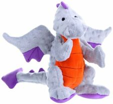 goDog Dragon With Chew Guard Technology Tough Plush Dog Toy, Gray, Large New
