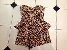 BN River Island Woman's Brown Leopard Print Playsuit Size 10