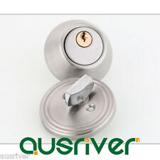 New Stainless Steel Door Lock Deadlock Set Round Cylinder Entry Entrance Keyed